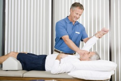Photos of physical therapist working on man's shoulder